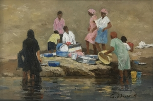 Figures Washing Clothes