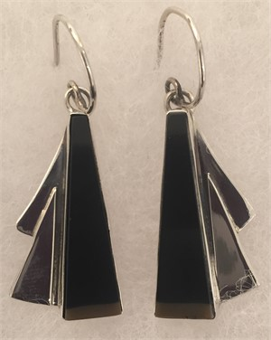 Sterling Black PicassoJasper Wire Earring, 2018