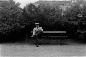 No. 175 Military Officer Reading in Park, Zagreb, Yugoslavia