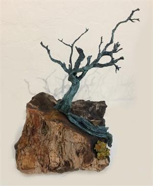 Bronze Sculpture on Petrified Wood-JO#28