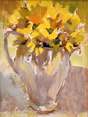 Fleurs Jaunes dans un Pichet Blanc