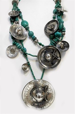 Necklace - KY1281C Three strand Vintage Sombreros from the 40' & 50' with Chinese turquoise and sterling silver, 2018