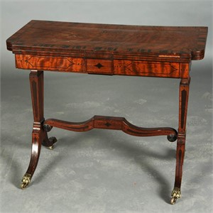 ENGLISH MAHOGANY AND ROSEWOOD SOFA TABLE, English, 19th century