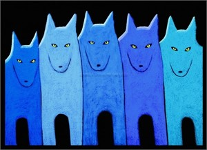 "BLUE WOLF PACK - limited edition giclee on canvas (large) 40"" x 52"" $3,500 or (medium) 30""x42"" $2200"