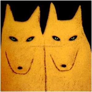 "TWO YELLOW  WOLVES - limited edition giclee on paper w/frame size of 21""X21"""