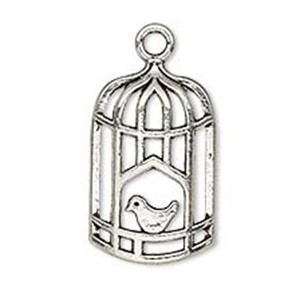Necklace - Silver Tone Bird in Cage