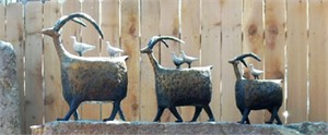 "ON A MISSION - Bronze Sculptures LARGE $5250 (24""x20""x13"") - MEDIUM $4200 (20""x17""x9"") - SMALL $3400 (16""x13""x7"") Rock pedestals LARGE $1650 (60""x12"") SMALL $775 (42""x21"") May be purchased separately or together."