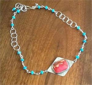 Turquoise and Silver Necklace with Coral Pendant