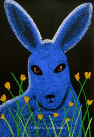 BLUE BUNNY IN YELLOW FLOWERS