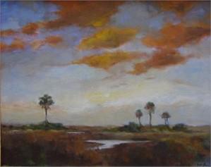 Orange Clouds Over Marsh