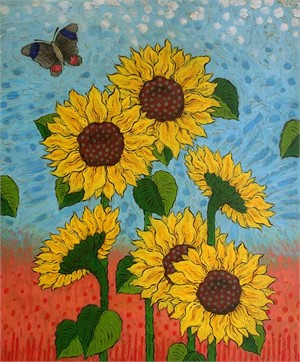 Sunflowers With Butterfly