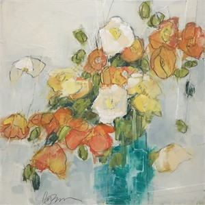 Poppies in Teal by Lynn Johnson