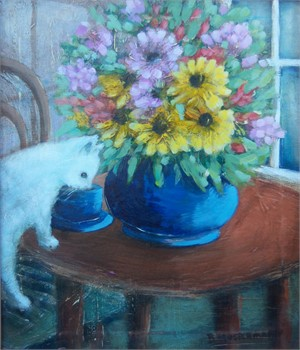 Bouquet with White Cat