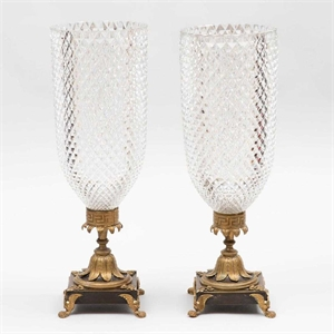 PAIR OF REGENCY ORMOLU-MOUNTED CUT GLASS PHOTOPHORES, English, 19th century
