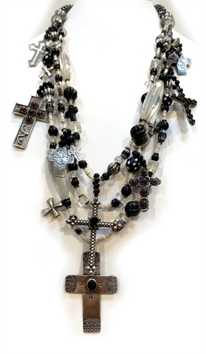 PP2 - 3 strand necklace w black onyx, african trade beads, Sterling and oyster shell, 2019