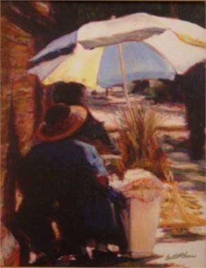 Basket Lady with Blue & White Umbrella