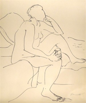 Seated Nude with Glass