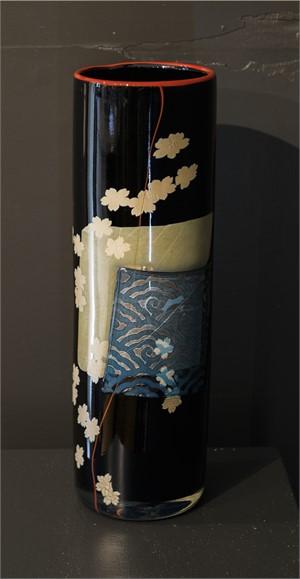 Tile Vase Black, with Blue wave & Silver Sakura 1