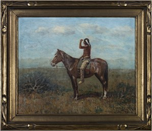 Native American on Horseback (To be sold as pair with 11060g-Cowboy on Horseback), c.1880's