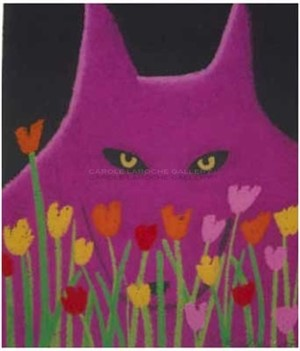 "MAGENTA WOLF AND FLOWERS -  limited edition giclee on paper w/frame size of 23""x20"""