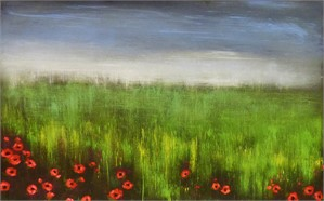 Soft Sky with Prairie Poppies