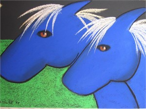 SOLD 'Two Blue Ponies'