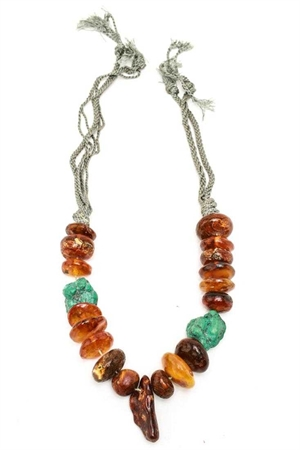 AMBER ABD NATURAL TURQUOISE BEADED NECKLACE, 20th century