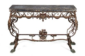 BAROQUE STYLE WROUGHT IRON AND PORTOR MARBLE CONSOLE TABLE, French, 20th century