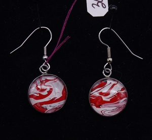 Red and White Earrings Round