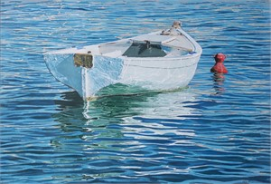 White Boat with Red Buoy