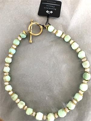 Necklace - Hammered Chrysophrase, Moonstone & Gold Vermeil  #8676, 2020