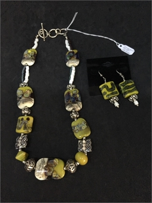 Necklace & Earrings - Lampwork Beads  #460, 2020