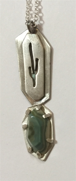 Necklace - Sterling Silver Saguaro Cut Out With Imperial Topaz, 2020