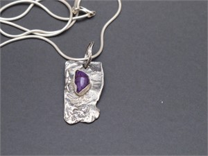 Pendant -Reticulated sterling silver, sugilite AS 014, 2018