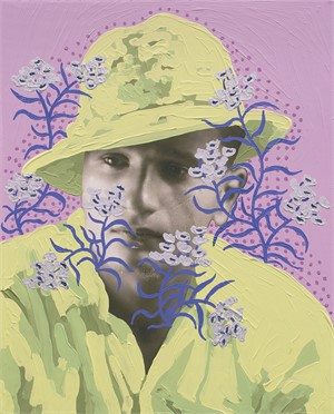 Untitled (Safari Hat and Silver Flowers)