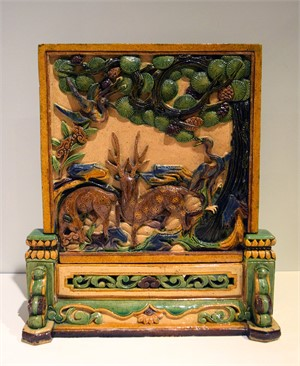 CHINESE SANCAI-GLAZED TABLE SCREEN AND STAND, Chinese, Ming Dynasty (1368-1644)