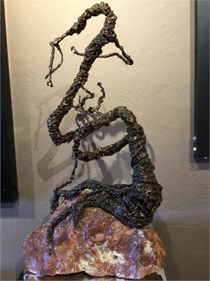 Tri-Metal Dragon on Pink Granite