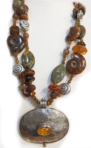 KY 1309 - 2 Strand Ryolite, Amber, Ammonite and Silver Necklace, 2019