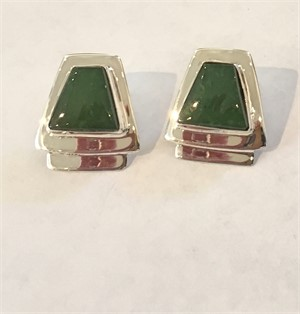 Sterling Silver Jade Post Earrings
