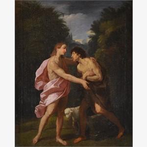 Follower of Guido Reni - Christ and Saint John the Baptist