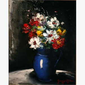 Zinnias In A Blue Vase