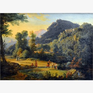 Attributed to Jean Charles Joseph Remond - Paysage Montagneux Anime de Personnages
