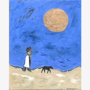Couple, Dog and Big Moon