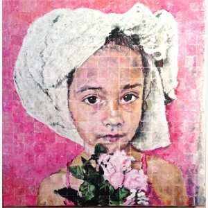 Girl with Pink Roses