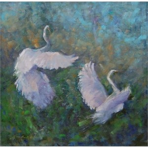 Soaring (Great Egrets)