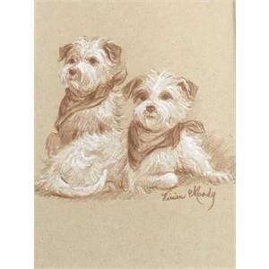 Pair of Terriers Drawing