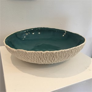 Geode Bowl with Teal Glaze