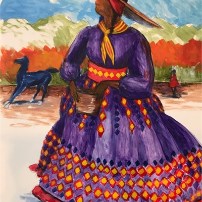 Osceola's Muse: Reception & Pop-up Show of Jonathan Green Costume Sketches & Paintings by Kris Manning | Oct.11, 5 - 6:30 | Sandpiper Gallery