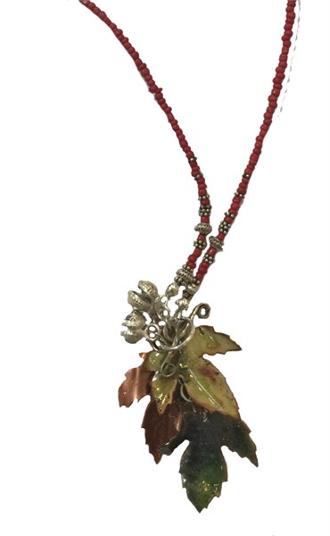 194D - Hand Enameled/Patinated Copper on Beaded Chain