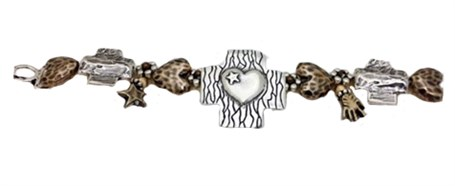 Bracelet - Sterling Silver Hopi Morning Star with Hearts - Bronze & Silver Morning Stars